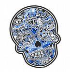Mexican Day Of The Dead SUGAR SKULL With Blue Tinited Stickerbomb Motif External Vinyl Car Sticker 120x90mm